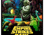 """The Empire Strikes Back poster featuring Yoda - Darth Vader - 13""""x19"""" or 24""""x36"""" - Sci Fi  Movie Poster Art - Starwars Han Solo R2D2 C3PO"""