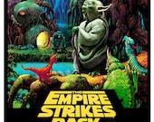 The Empire Strikes Back - Yoda - Luke Skywalker - Darth Vader 13x19  Classic Sci Fi  Movie Poster Art - Starwars Han Solo R2D2 C3PO