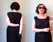 50s black crepe pintuck pleats sleeveless shift cocktail dress M/L