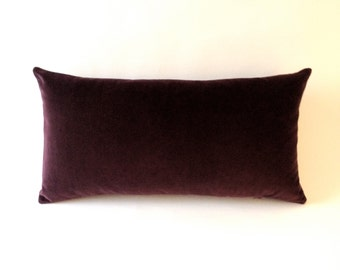 Aubergine Wine Decorative Bolster Throw Pillow- Medium Weight Cotton Velvet -10x20 to 12x24 Invisible Zipper Closure- Knife Or Piping Edge