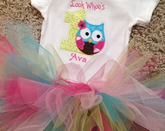 1st birthday owl bodysuit with name and matching colorful tutu
