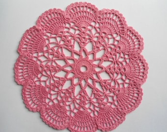 Crochet doily , pink , round , small doilies , 8 inches