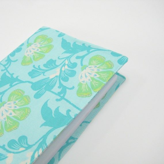 Notebook journal with fabric cover, A5 2014 diary, aqua turquoise mint green, floral covered 2014 planner, handmade gifts on Etsy