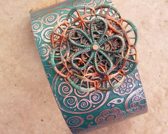 Embellished and Etched Copper Cuff Bracelet, Turquoise Mehndi with Copper Detail, 1.5""