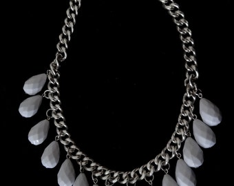 Necklace white sparkly faceted tear drop beads on hefty silver tone chain