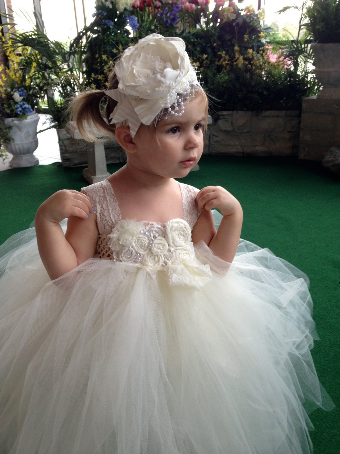 Flower girl tutu dress Ivory tutu by carolinesboutique on