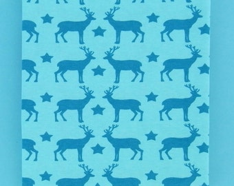 SALE! MAGIC DEER organic cotton single jersey in turquoise, 1 m