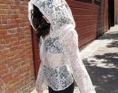 Womens Jacket - white lace shirt- coat- sheer blouse - boho top- hoodie - upcycled clothing - womens clothing - handmade hipster clothing