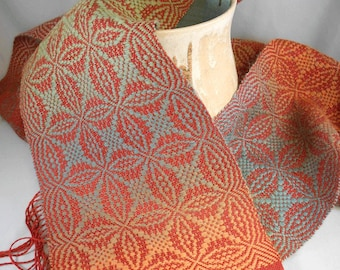 Orange Peel Overshot Woven Scarf - Weaving Draft (Pattern)