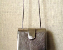 Crossbody Bag Clutch Purse Gold Bronze Metallic vintage 80s evening handbag long strap purse disco glam prom formal vtg Ande purse