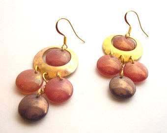 Boho Brass Earrings - Chandelier, Hammered Hoop, Pink, Purple Lentil Beads with Gold Plated Ear Wires.  EMB009.