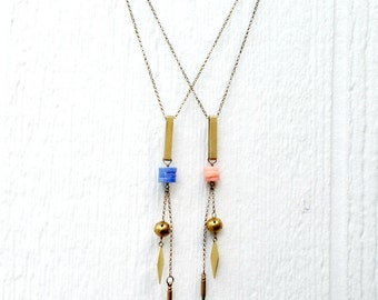 Lariat Necklace - Coral Jewellery - Modern Jewelry - Hipster Necklace - Brass Chain