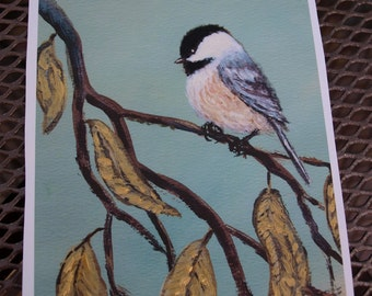 Chickadee Set 10 - Bird 2 - Brushstroke Enhanced 5 X 7 Inch PRINT