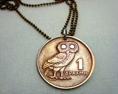 Owl Coin Necklace - Vintage OWL of Athena COIN NECKLACE - 1973 Greek coin - phoenix necklace - bronze owl coin - Athena owl - mens necklace