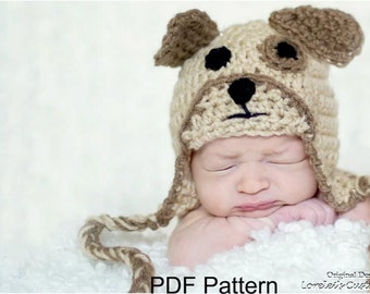 Puppy hat pattern, dog hat pattern, crochet puppy dog hat pattern, PDF file available for instant download. Sizes for newborn through adult.