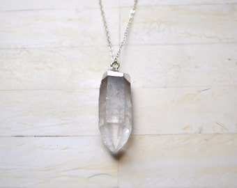Quartz Necklace Long Silver Necklace Sterling Silver Long Necklace Crystal Necklace Simple Necklace