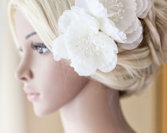 Bridal hair accessory, double ivory, off white hair flower, headpiece - Camille