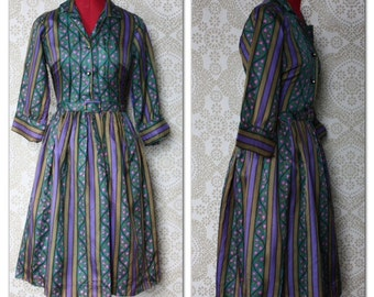 Vintage 1950's Multicolored Shirt Dress with Rhinestone Buttons S/M