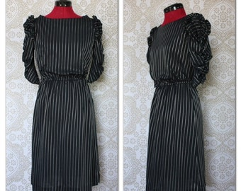 Vintage 1980's Black and Silver Stripe Dress with Ruffled Sleeves Small