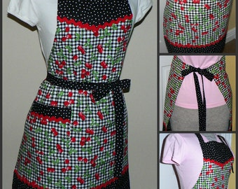 "Retro Kitchen Apron ""Black Cherry Gingham"" cooking and baking apron, classic chef's apron, hostess apron, individually handmade after order"