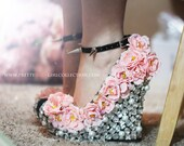 Floral Rhinestone Studded  Wedge Shoes 5 1/2 INCHES