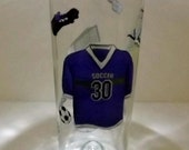SOCCER Recycled Glass Bottle Accent Lamp/Light-Three Different LED Lighting Modes-Great Gift