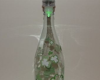 SHAMROCK COLLAGE Recycled Glass Bottle Accent Lamp/Light-Great Gift