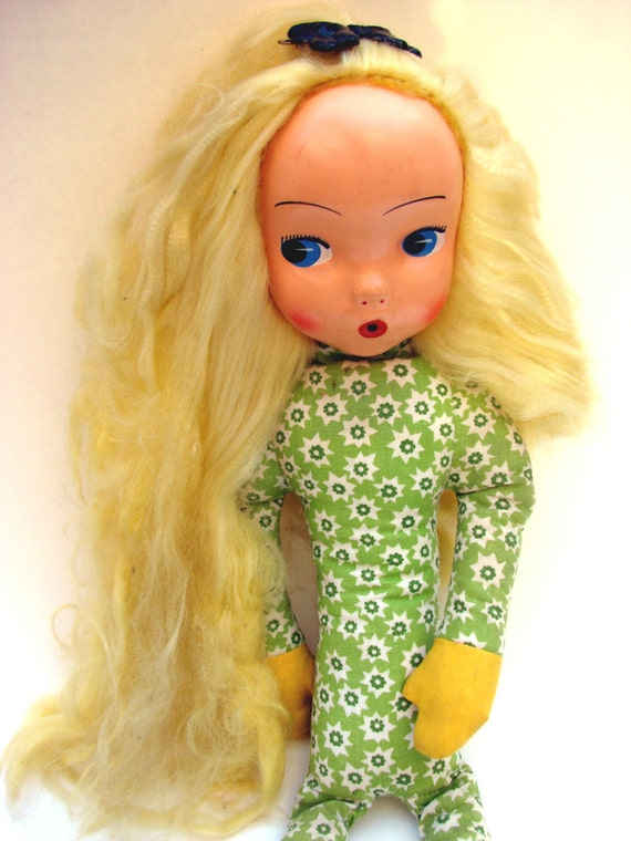 Lovely Vintage Toy Doll Very Long Legs Soft Body Plastic Face Blonde Hair Blue Eyes. Childrens toy 1960s 50s style