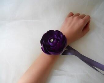 Lapis, Purple Ranculus Wrist Corsages with Rhinestone Bracelet
