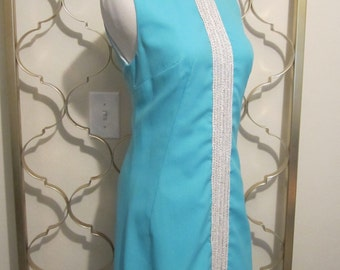 Vintage 1960s Mod Maxi Dress-Aqua & Silver Formal-Medium
