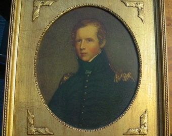 Gold Painted Picture Frame, Wood Frame 13x15, Print of Major John Bidell by Thomas Sully, Gold Oval Insert, Unique Wall Hanging,