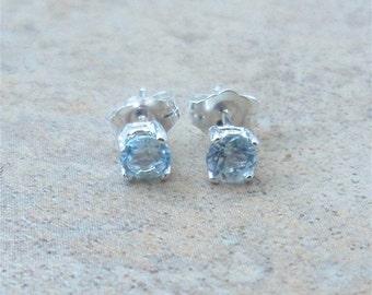 Aquamarine Earrings - 4mm genuine Aquamarine stud earrings in Sterling Silver or Gold