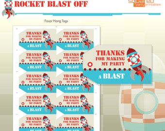 Rocket Ship Spaceship Birthday Party Printables - Party Favor Hang Tags - DIY Print - Blast Off - Instant Download