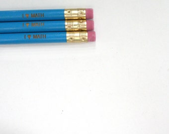 i love math engraved pencil set of three in aqua blue. Back to school