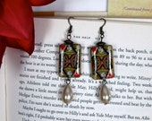 Queen of Hearts Paper Bead & Pearl Earrings