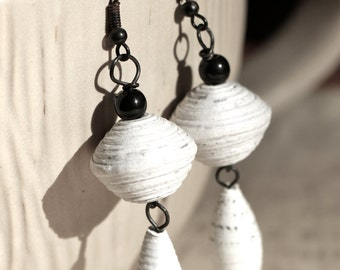 White & Black Recycled Paper Bead Teardrop Earrings