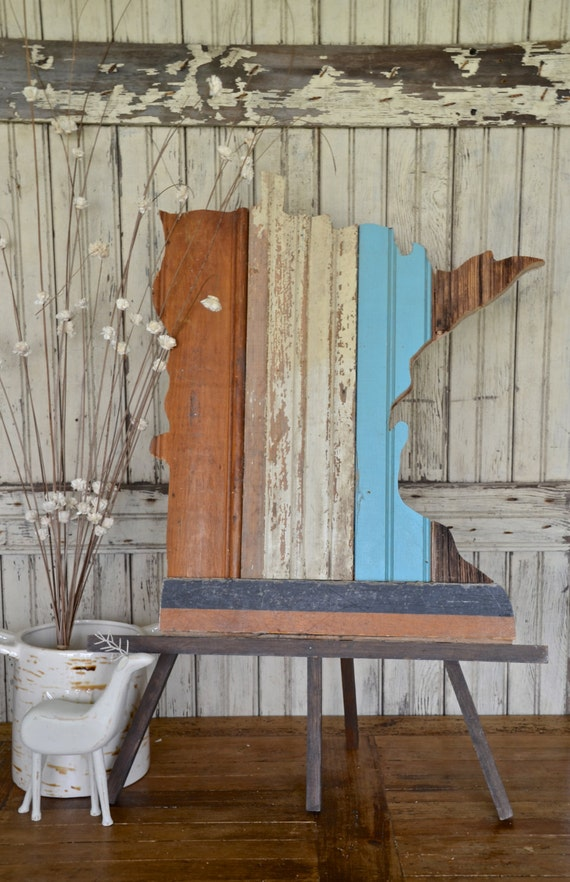 Reclaimed State of your Choice:  Vintage Wood Wall Installation Custom Made