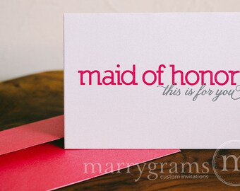 Bridesmaid Gift Cards, Maid of Honor, Wedding party... Wedding Thank You Cards to go with a Gift (Set of 4)