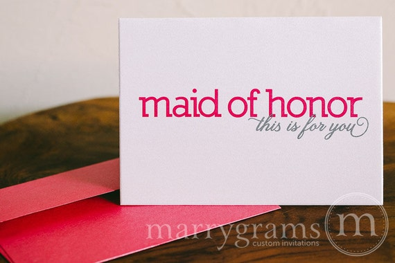 Bridesmaid Cards, Maid of Honor, Wedding Party Thank You Cards to go with a Gift - Pink, Blue, Purple, Green - Cute Notecard, Colorful & Fun