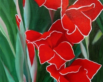 Crimson Blossoms, an Original Oil Painting by Jo Edwards