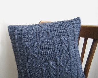 """Decorative Cable Pillow Navy blue Wool Knitted Patchwork Home Living Classic Throw Organic wool Country Rustic Christmas 18 """" by margity"""