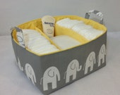 "XL Diaper Caddy 13""x11""x7"" Fabric Storage Bin, Organizer, Basket, White Elephant on Grey with Yellow Lining"