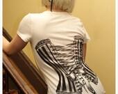 Victorian Corset Tshirt - Womens  tee - IVORY - Off White