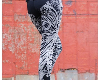 Filigree Art Nouveau Leggings by Carousel Ink - Black Tights - Printed Womens Legging - LARGE