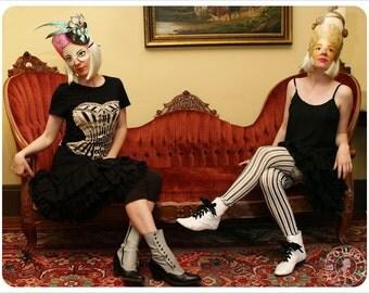 SALE - Black Victorian Corset Tshirt - Womens tee - Victorian Corset