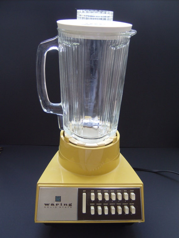 Vintage Waring Solid State Blender Mustard Yellow 70s 1970s