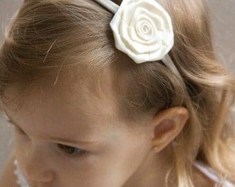 Ivory Baby Headband - Flower Girl Headband - Satin Ivory Rose Handmade Headband - Fits From Babies to Adults