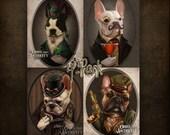 SALE Collector's Steampunk French Bulldogs Boston Terrier Victorian Original Illustration Portraits- 5x7 mini prints of All 4