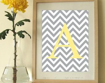 Monogram Art Print, Chevron Letter, Modern Wall Decor, Initial Artwork