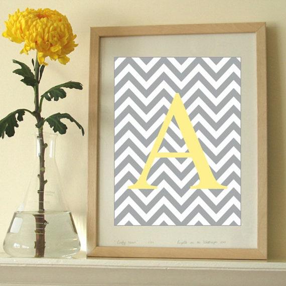 Items similar to monogram art print chevron letter modern wall decor initial artwork on etsy - Initial letter wall decor ...
